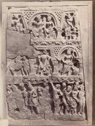 Sculpture slab representing mahabhinisikrama, from the Peshawar District